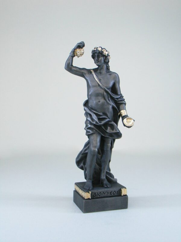 The statue of Dionysus holding a bunch of grapes and a container in Patina Black color