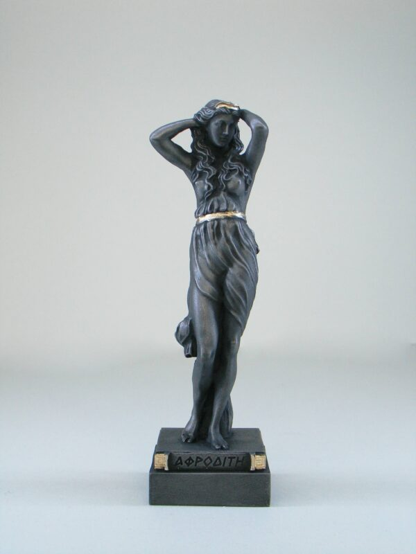 The Statue of Aphrodite stands and holds her head with both her hands in Patina Black color