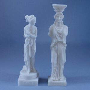 Set of two statues, Caryatid and Pandora in White color