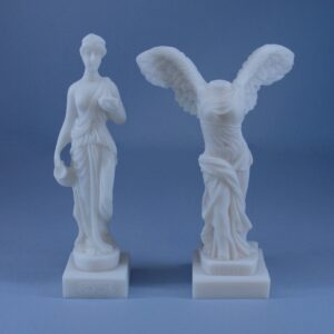 Hebe and Nike of Samothace (Victory) statues set for sale made of Alabaster in pure White color. Buy both of them in a better price than individually.