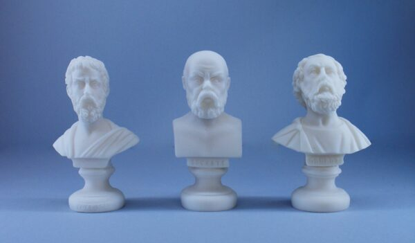 Homer, Socrates and Pythagoras statues set for sale made of Alabaster in pure White color. Buy all of them in a better price than individually.