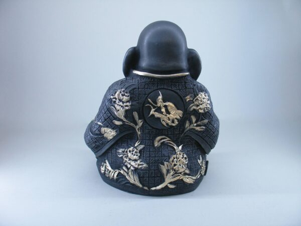 Budai The Fat Buddha in White and Gold color back view