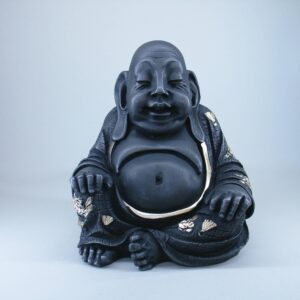 Budai The Fat Buddha in White and Gold color front view