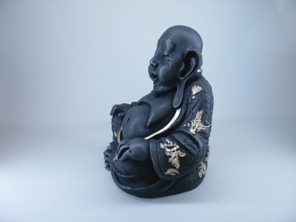Budai The Fat Buddha in White and Gold color rear view