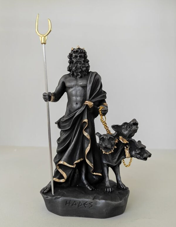 Hades statue with Cerberus in Black and Gold colors