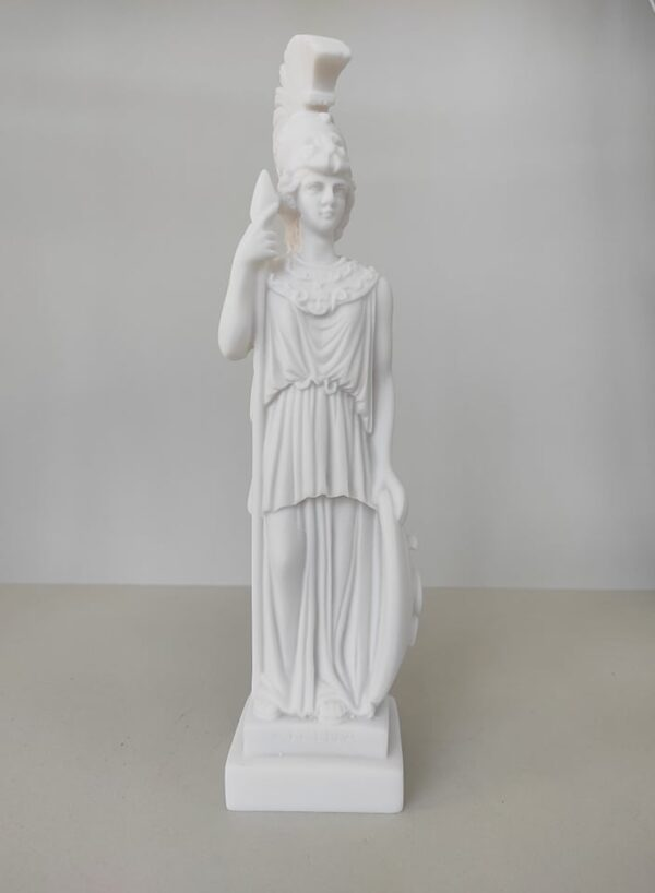 Athena with her spear and shield standing in White color