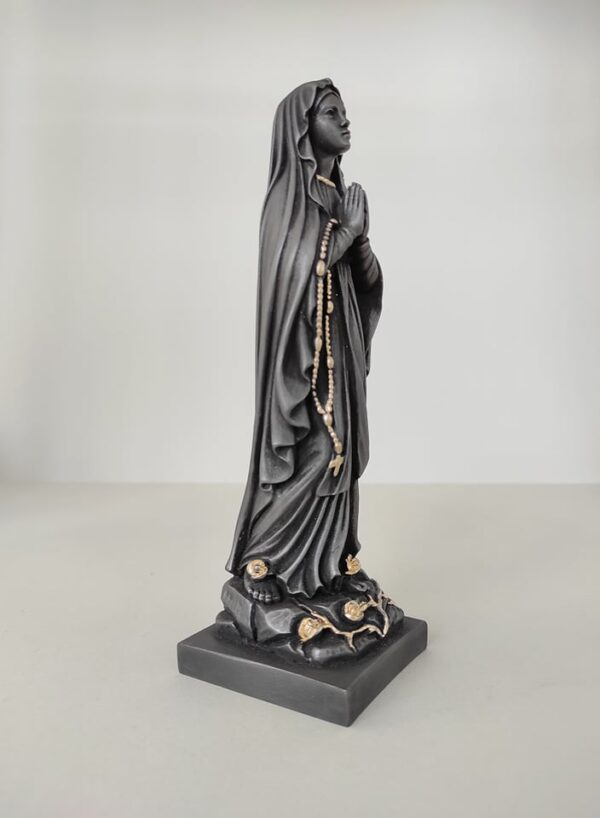 Whole statue of Virgin Mary praying in Black and Gold color
